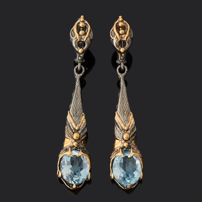 Серьги топаз голубой Бразилия (серебро 925 пр. позолота, родир. черн.) огранка