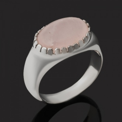 Кольцо розовый кварц Бразилия (серебро 925 пр.) размер 18,5