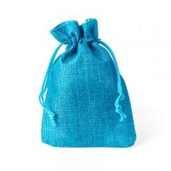 Подарочная упаковка (текстиль) универсальная (мешочек плоский) (бирюзовый) 140х95 мм