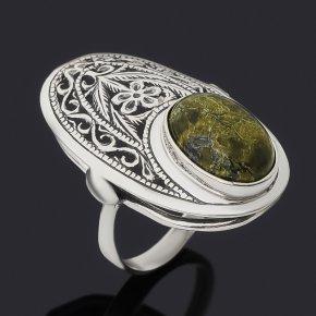 Кольцо змеевик Россия (серебро 925 пр. оксидир.) размер 18