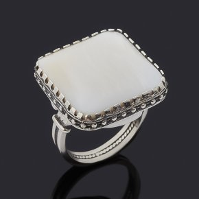 Кольцо перламутр белый Индонезия (серебро 925 пр. оксидир.) размер 18,5