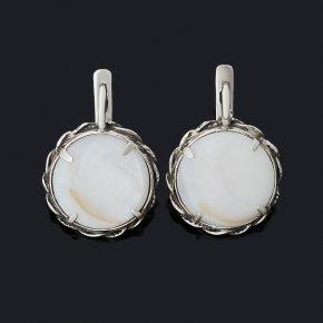 Серьги перламутр белый Индонезия (серебро 925 пр. оксидир.)