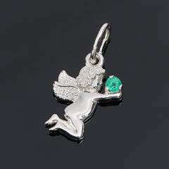 Кулон изумруд Колумбия (серебро 925 пр. родир. бел.) огранка
