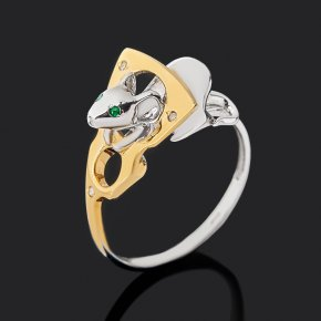 Кольцо микс бриллиант, изумруд (серебро 925 пр. позолота) огранка размер 17,5