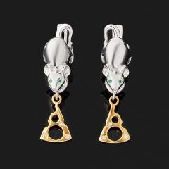 Серьги микс бриллиант, изумруд (серебро 925 пр. позолота) огранка