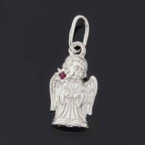 Кулон рубин Мьянма (серебро 925 пр. родир. бел.) Ангел-хранитель огранка