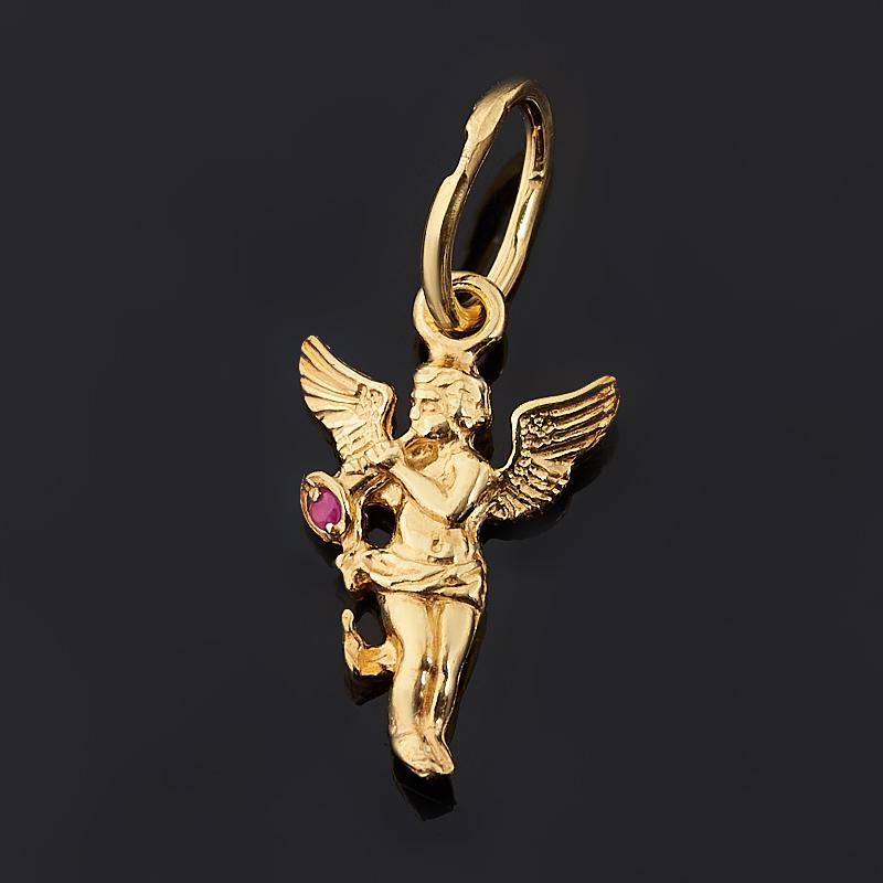 Кулон рубин (серебро 925 пр. позолота) Ангел-хранитель огранка