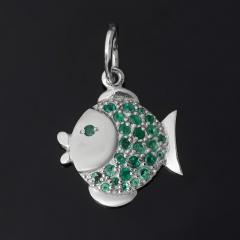 Кулон изумруд Колумбия (серебро 925 пр. родир. бел.) рыба огранка