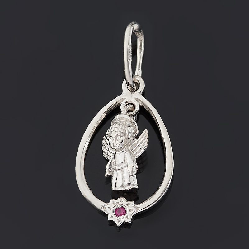 Кулон рубин (серебро 925 пр. родир. бел.) Ангел-хранитель огранка