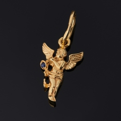 Кулон сапфир черный Индия (серебро 925 пр. позолота) Ангел-хранитель огранка