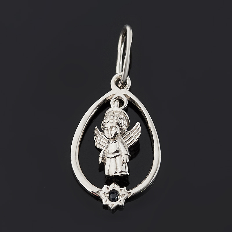 Кулон сапфир (серебро 925 пр. родир. бел.) Ангел-хранитель огранка