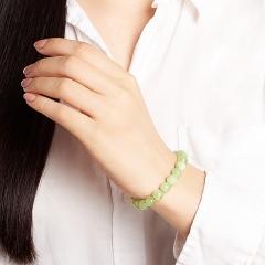 Браслет оникс мраморный зеленый Пакистан (биж. сплав, сталь хир.) 8 мм 16 см (+3 см)