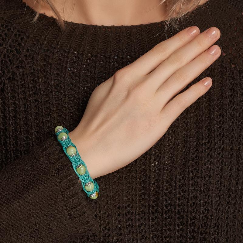 Браслет оникс мраморный зеленый Пакистан (биж. сплав, текстиль) шамбала 8 мм 17 см (регулируемый)