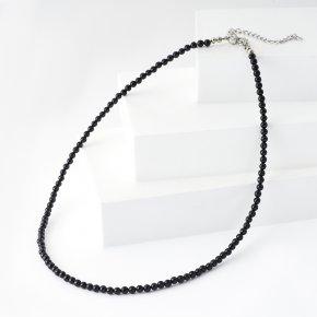 Бусы турмалин черный (шерл) Бразилия (биж. сплав, сталь хир.) 4 мм 43 см (+7 см)