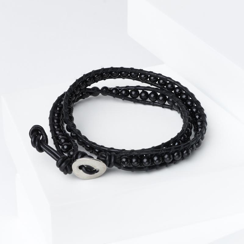 Браслет турмалин черный (шерл) Бразилия (биж. сплав, кожа натур.) Чан Лу чокер 4 мм 16 см (регулируемый)