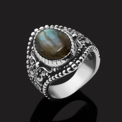 Кольцо лабрадор Мадагаскар (серебро 925 пр. оксидир.) размер 17,5