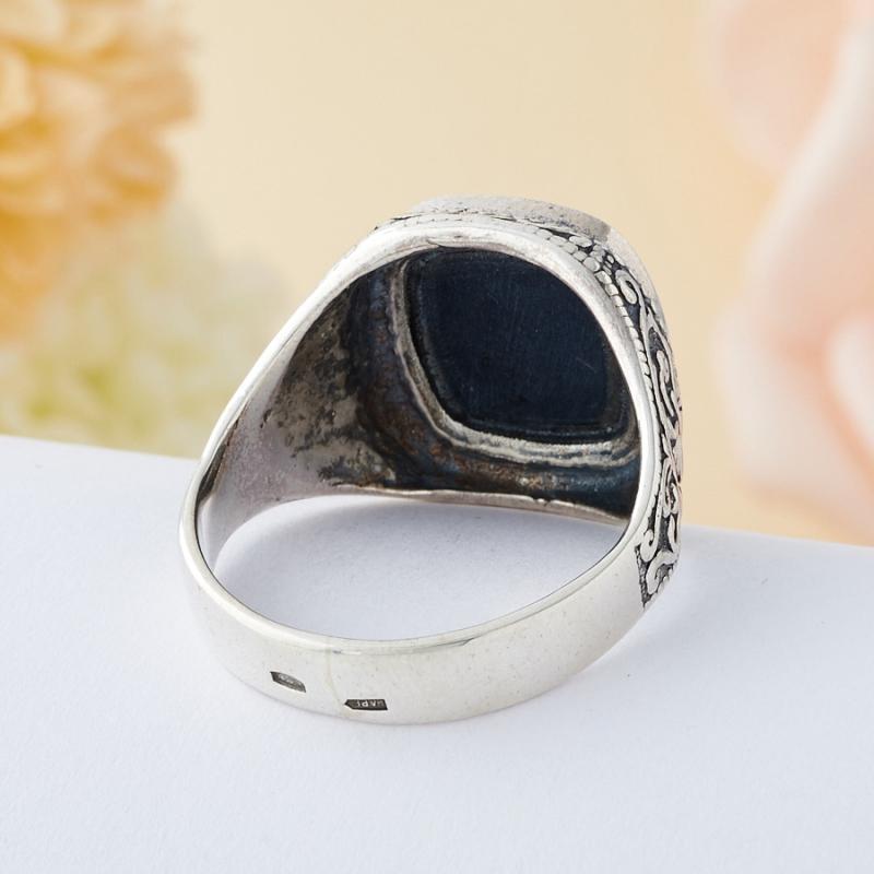 Кольцо соколиный глаз ЮАР (серебро 925 пр.)  размер 20