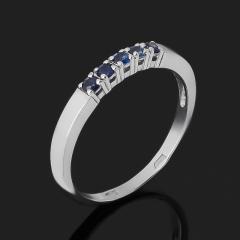 Кольцо сапфир черный Индия (серебро 925 пр. родир. бел.) огранка размер 17