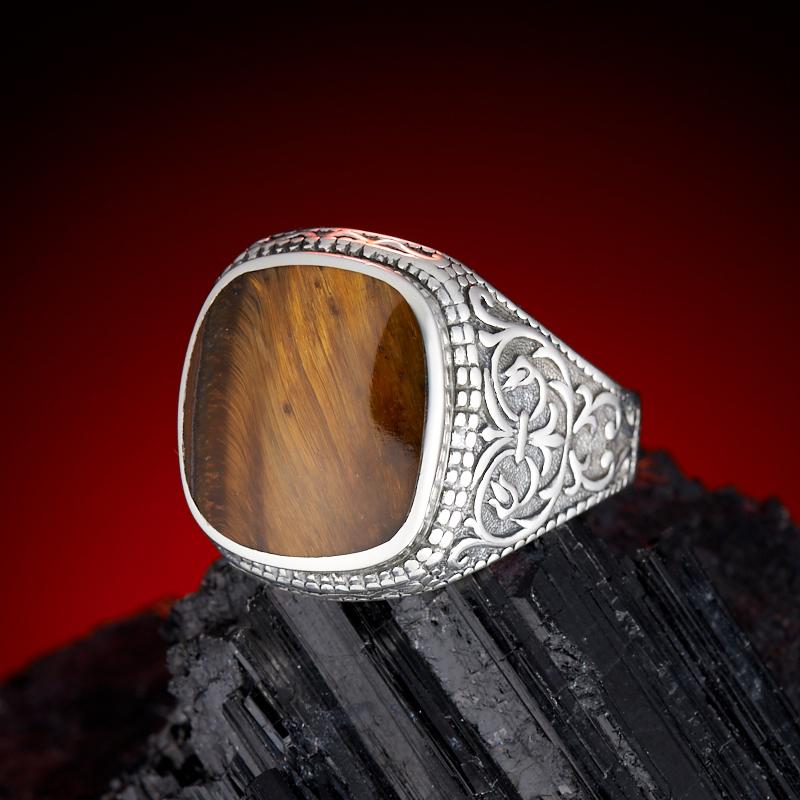 Кольцо тигровый глаз  (серебро 925 пр.)  размер 18