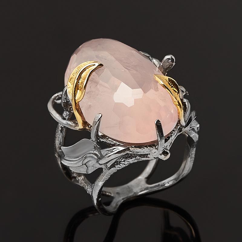 Кольцо розовый кварц Бразилия (серебро 925 пр. позолота, родир. сер.) огранка размер 18,5
