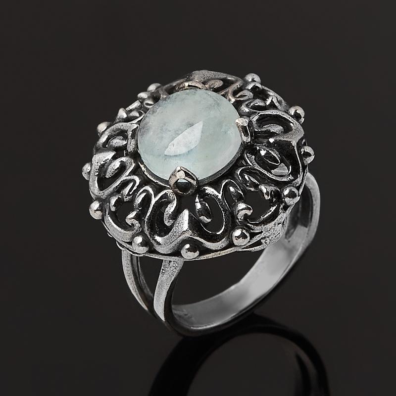 Кольцо аквамарин Россия (серебро 925 пр. оксидир.) размер 17,5
