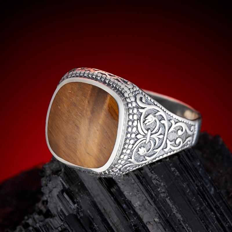 Кольцо тигровый глаз  (серебро 925 пр.)  размер 22