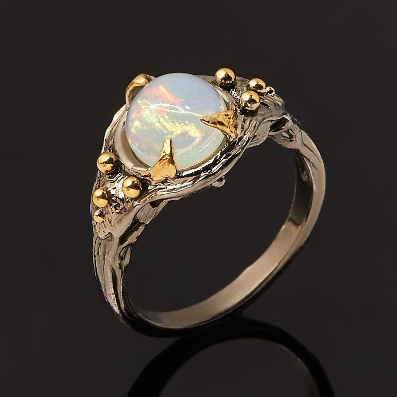 Кольцо опал благородный белый Эфиопия (серебро 925 пр. позолота, родир. черн.) размер 17,5