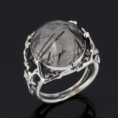 Кольцо кварц с турмалином Бразилия (серебро 925 пр. оксидир.) размер 18