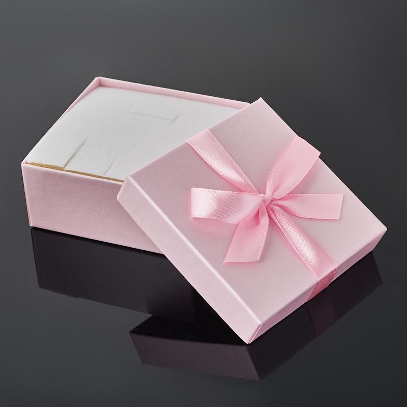 Подарочная упаковка (картон) под комплект (кольцо, серьги, кулон) (коробка) (розовый) 85х85х40 мм