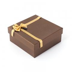 Подарочная упаковка (картон) под комплект (кольцо, серьги, цепь, кулон) (коробка) (микс) 85х85х35 мм