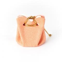 Подарочная упаковка (кожа иск.) универсальная (мешочек объемный) (оранжевый) 40х35х35 мм