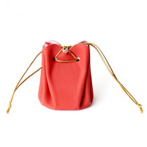Подарочная упаковка (кожа иск.) универсальная (мешочек объемный) (красный) 60х45х45 мм