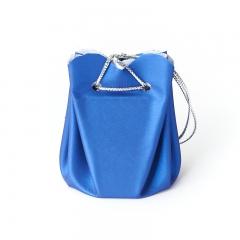 Подарочная упаковка (кожа иск.) универсальная (мешочек объемный) (синий) 60х45х45 мм