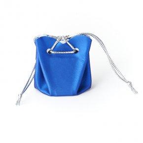 Подарочная упаковка (кожа иск.) универсальная (мешочек объемный) (синий) 40х35х35 мм