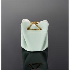 Подарочная упаковка (кожа иск.) универсальная (мешочек объемный) (зеленый) 40х35х35 мм