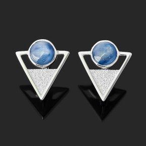 Серьги кианит синий Бразилия (серебро 925 пр. родир. бел.)