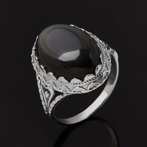 Кольцо обсидиан радужный Мексика (серебро 925 пр. родир. бел.) размер 20