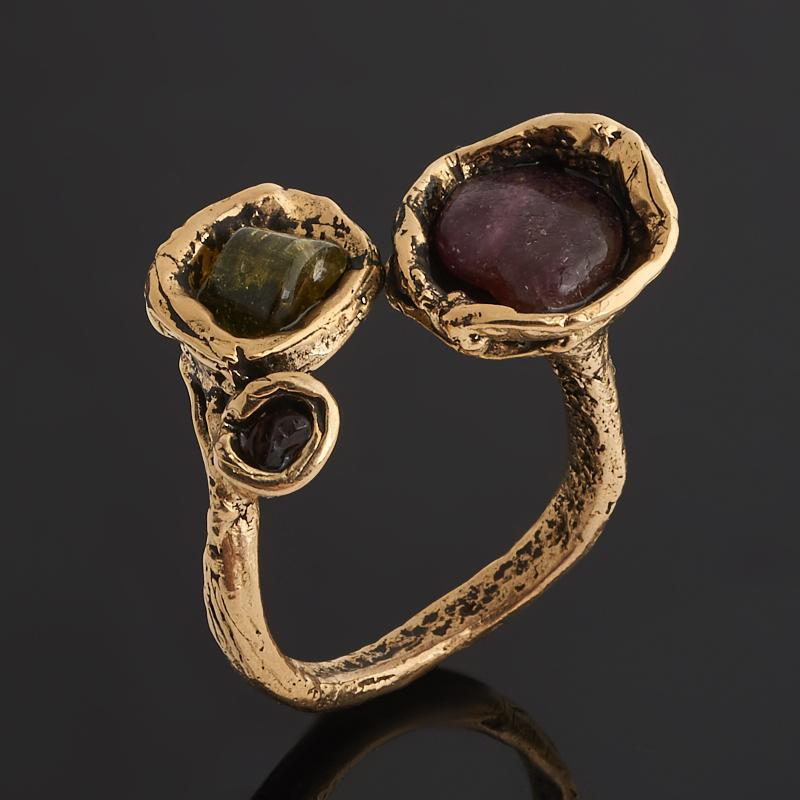 Кольцо турмалин зеленый (верделит), розовый (рубеллит)  (бронза) (регулируемый) размер 18,5