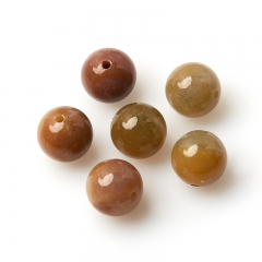 Бусина агат моховой бежевый Индия шарик 12-12,5 мм (1 шт)