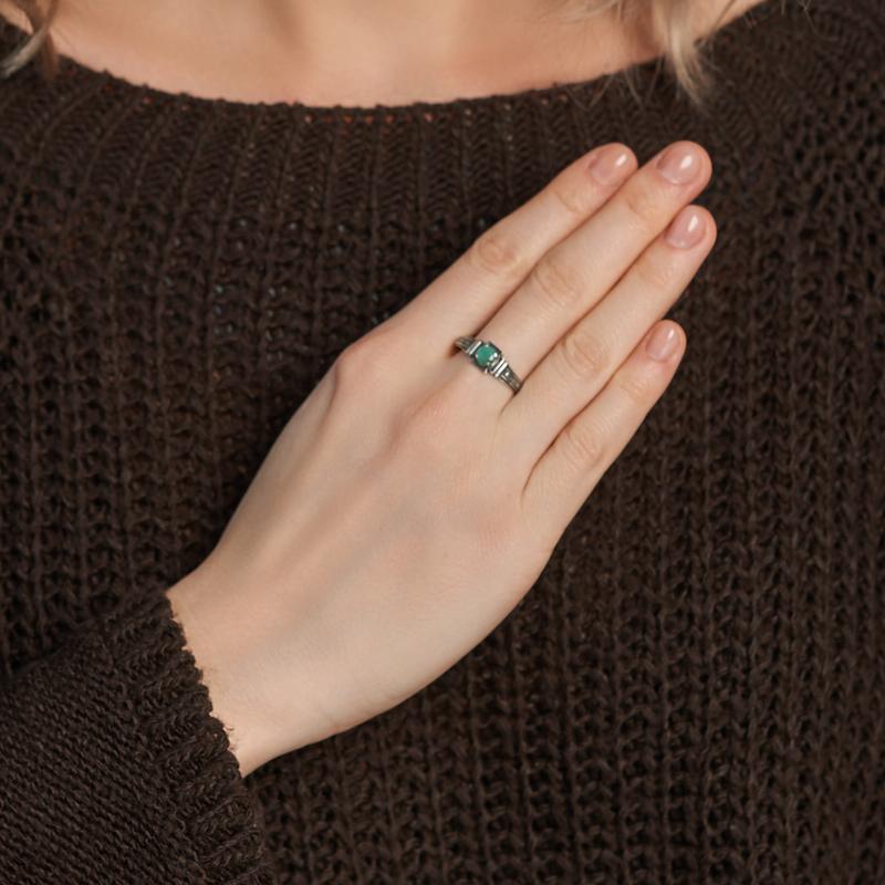 Кольцо изумруд Колумбия (серебро 925 пр. оксидир.) огранка Спаси и сохрани размер 18,5