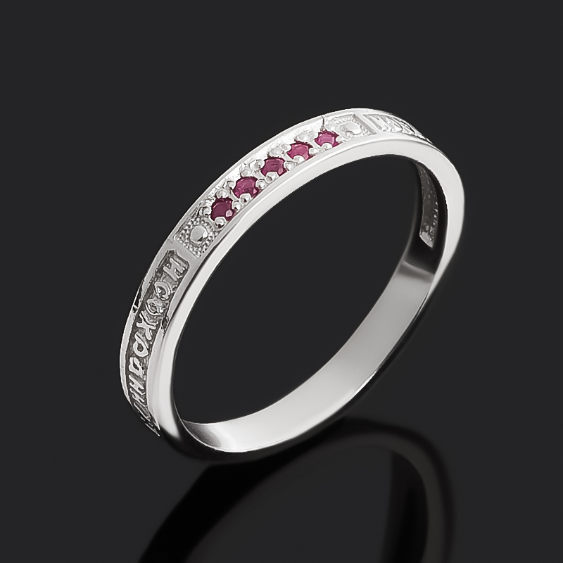 Кольцо рубин Мьянма (серебро 925 пр. родир. бел.) огранка Спаси и сохрани размер 16