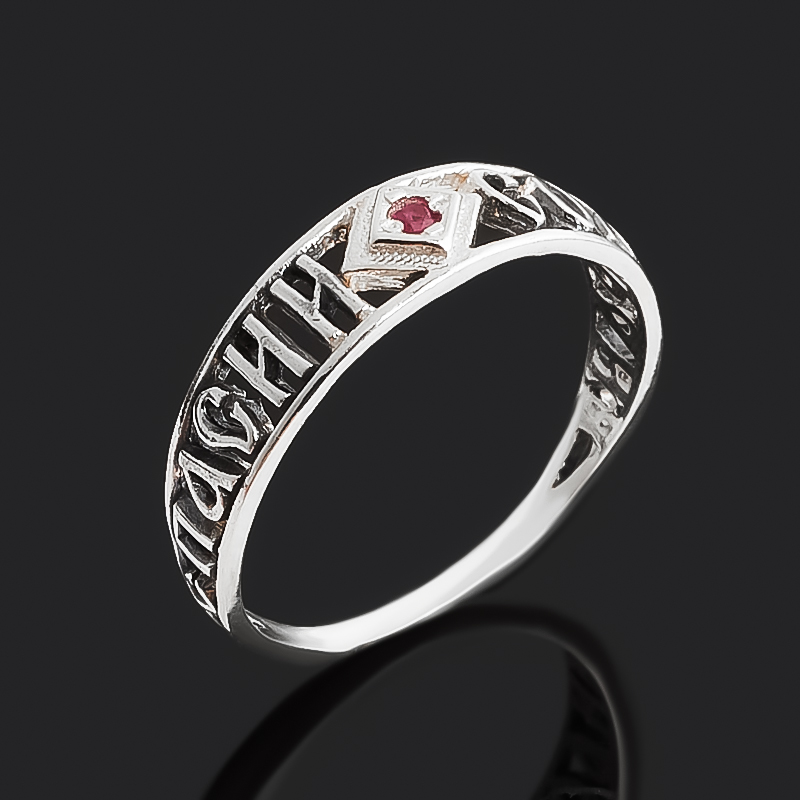 Кольцо рубин Мьянма (серебро 925 пр. оксидир.) огранка Спаси и сохрани размер 16,5