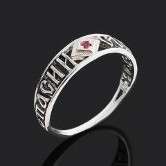 Кольцо рубин Мьянма (серебро 925 пр. оксидир.) огранка Спаси и сохрани размер 19