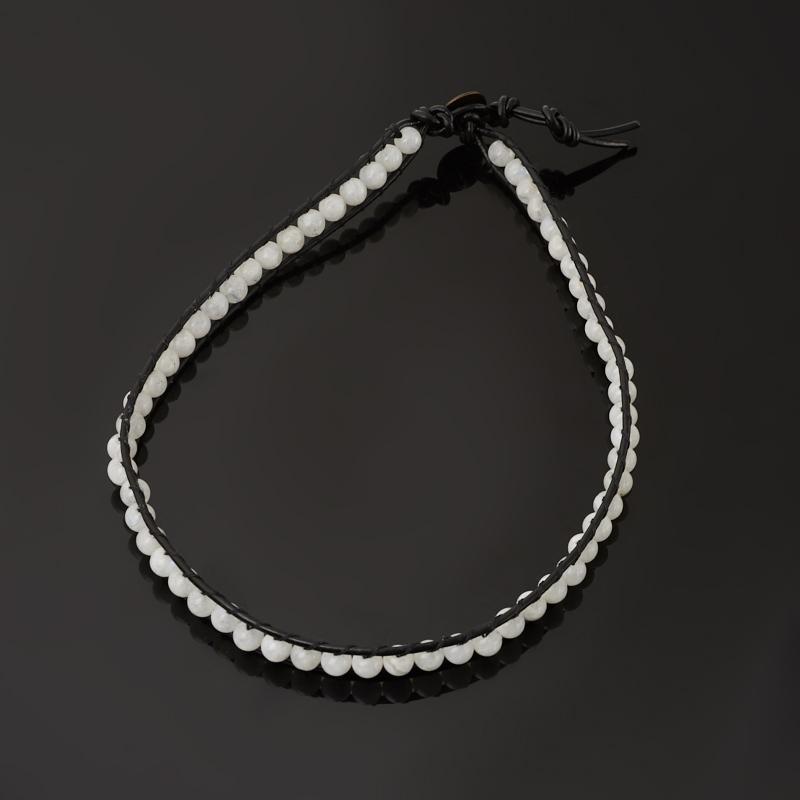 Браслет лунный камень (адуляр) Индия (биж. сплав, кожа натур.) Чан Лу чокер 4 мм 16 см (регулируемый)