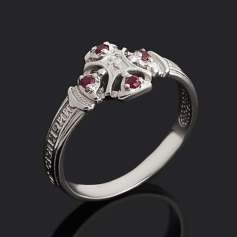 Кольцо рубин Мьянма огранка (серебро 925 пр. родир. бел.) Спаси и сохрани размер 17,5
