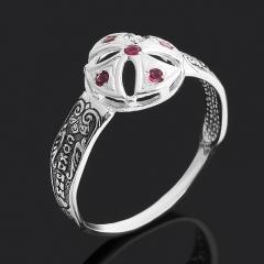 Кольцо рубин Мьянма (серебро 925 пр. оксидир.) огранка Спаси и сохрани размер 19,5