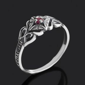 Кольцо рубин Мьянма (серебро 925 пр. оксидир.) огранка Спаси и сохрани размер 17