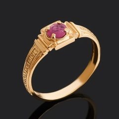 Кольцо рубин Мьянма (серебро 925 пр. позолота) огранка Спаси и сохрани размер 17