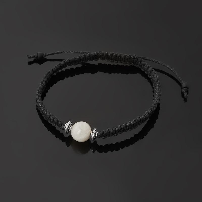 Браслет лунный камень (адуляр) Индия (биж. сплав, текстиль) шамбала 10 мм 17 см (регулируемый)