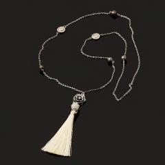 Бусы лунный камень (адуляр) Индия (биж. сплав, сталь хир., текстиль) (сотуар) длинные 80 см